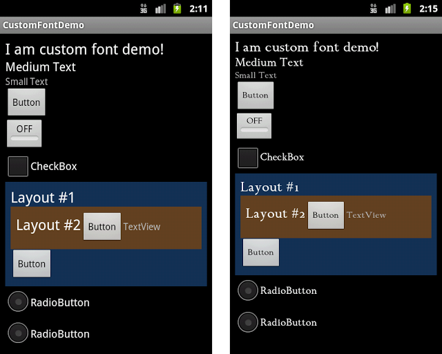 Standard (left) and Custom (right) fonts usage.